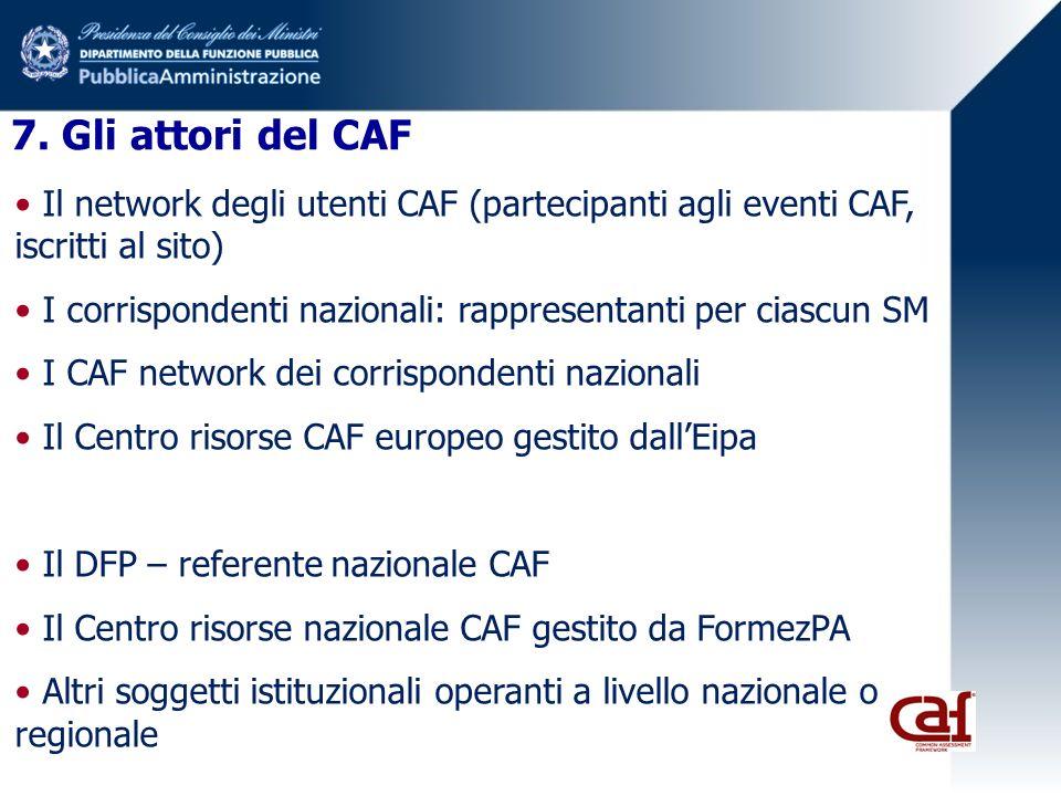 7. Gli attori del CAF Il network degli utenti CAF (partecipanti agli eventi CAF, iscritti al sito)