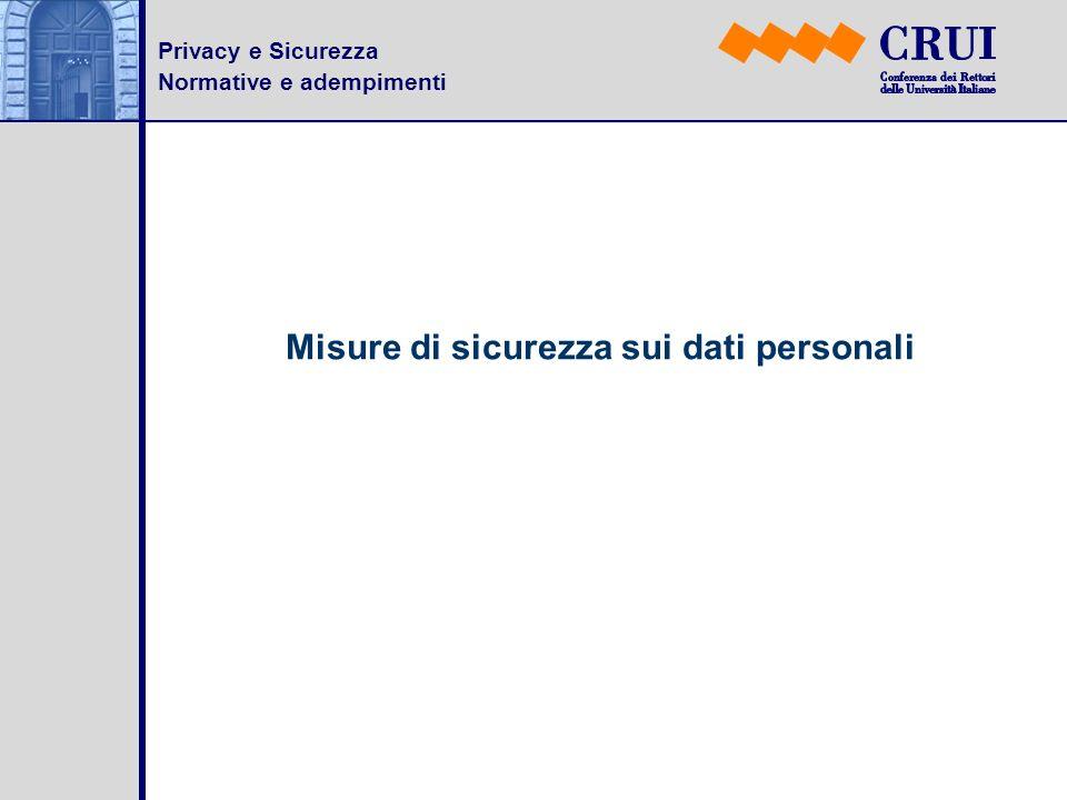 Misure di sicurezza sui dati personali