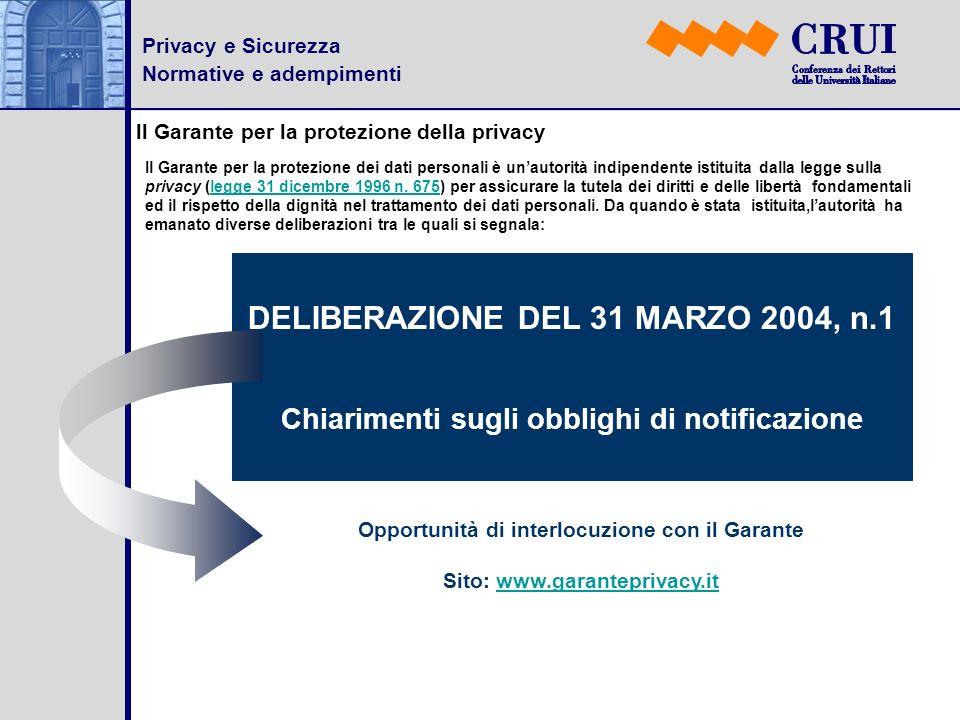 DELIBERAZIONE DEL 31 MARZO 2004, n.1