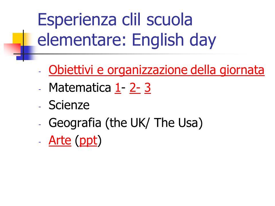 Esperienza clil scuola elementare: English day