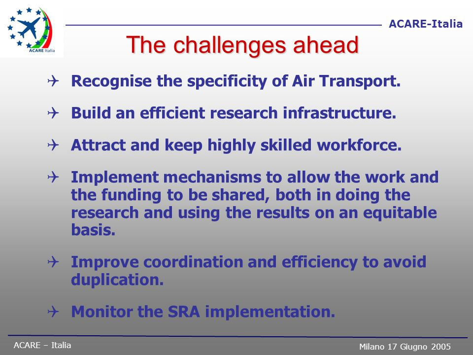 The challenges ahead Recognise the specificity of Air Transport.