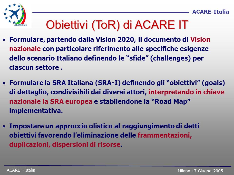 Obiettivi (ToR) di ACARE IT