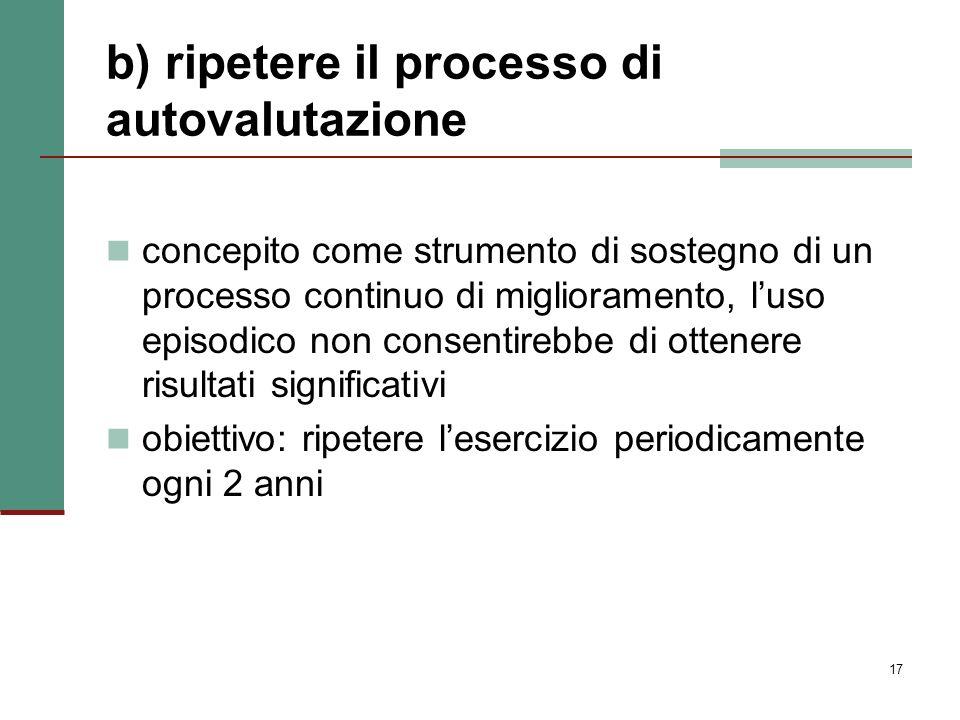 b) ripetere il processo di autovalutazione