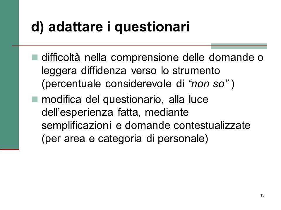d) adattare i questionari
