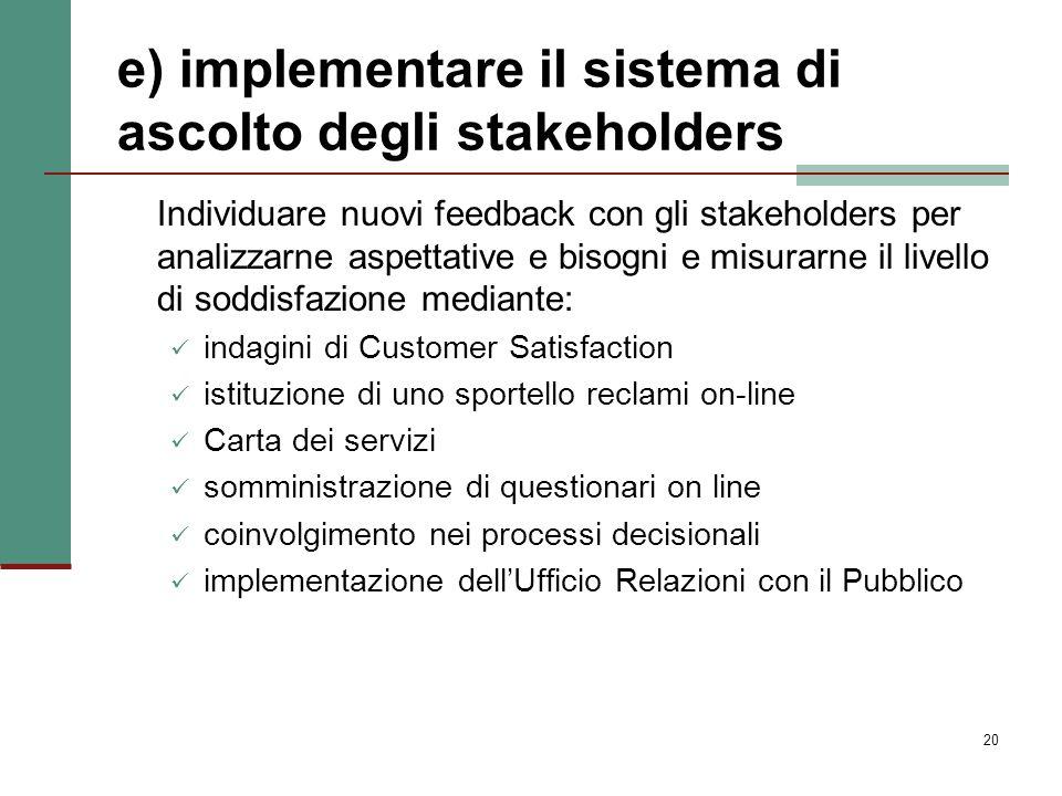 e) implementare il sistema di ascolto degli stakeholders