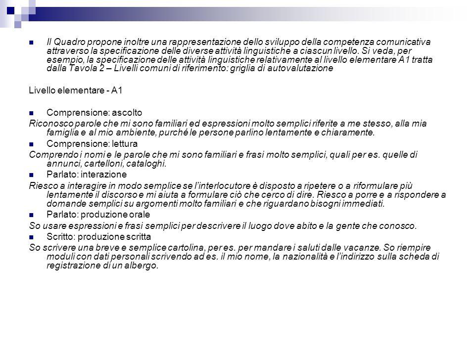 Il Quadro propone inoltre una rappresentazione dello sviluppo della competenza comunicativa attraverso la specificazione delle diverse attività linguistiche a ciascun livello. Si veda, per esempio, la specificazione delle attività linguistiche relativamente al livello elementare A1 tratta dalla Tavola 2 – Livelli comuni di riferimento: griglia di autovalutazione