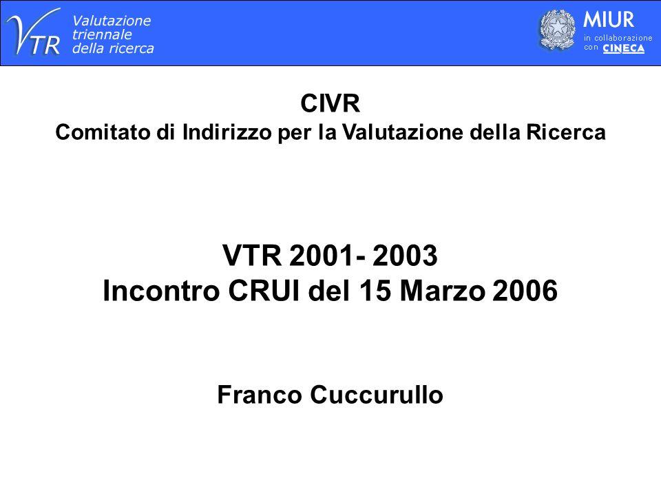 CIVR Comitato di Indirizzo per la Valutazione della Ricerca VTR 2001- 2003 Incontro CRUI del 15 Marzo 2006 Franco Cuccurullo