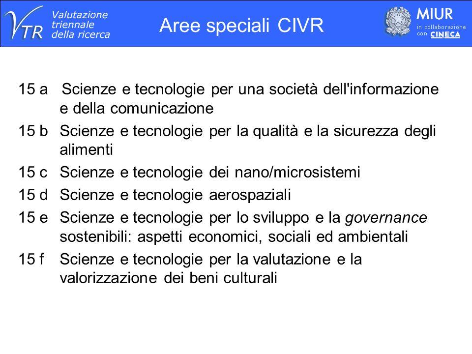 Aree speciali CIVR 15 a Scienze e tecnologie per una società dell informazione e della comunicazione.