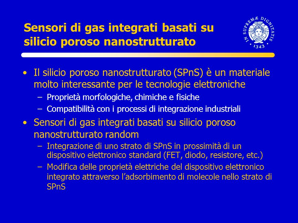 Sensori di gas integrati basati su silicio poroso nanostrutturato