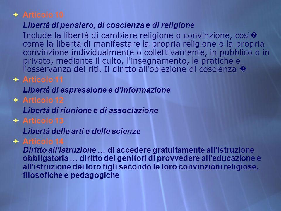 Articolo 10 Libertà di pensiero, di coscienza e di religione.