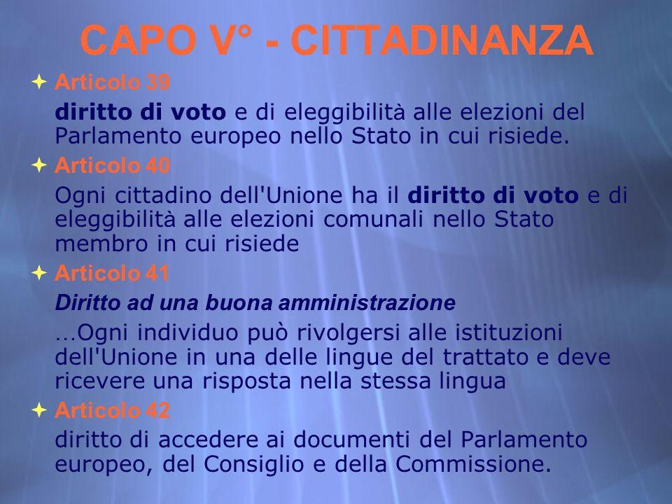 CAPO V° - CITTADINANZA Articolo 39