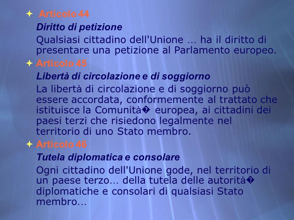 Articolo 44Diritto di petizione. Qualsiasi cittadino dell Unione … ha il diritto di presentare una petizione al Parlamento europeo.
