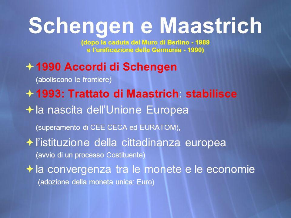 Schengen e Maastrich (dopo la caduta del Muro di Berlino - 1989 e l'unificazione della Germania - 1990)