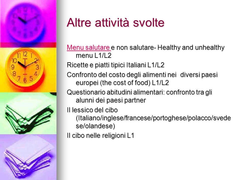 Altre attività svolte Menu salutare e non salutare- Healthy and unhealthy menu L1/L2. Ricette e piatti tipici Italiani L1/L2.