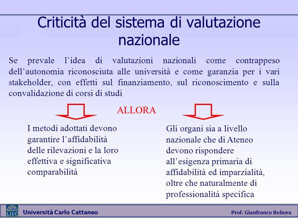Criticità del sistema di valutazione nazionale