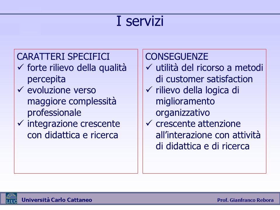 I servizi CARATTERI SPECIFICI forte rilievo della qualità percepita