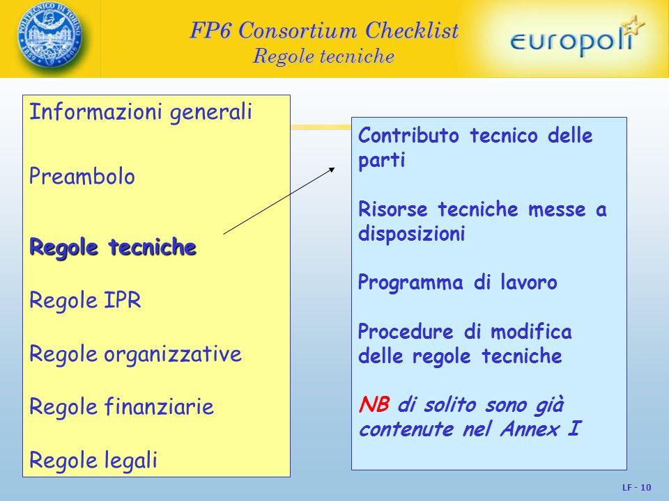 FP6 Consortium Checklist Regole tecniche
