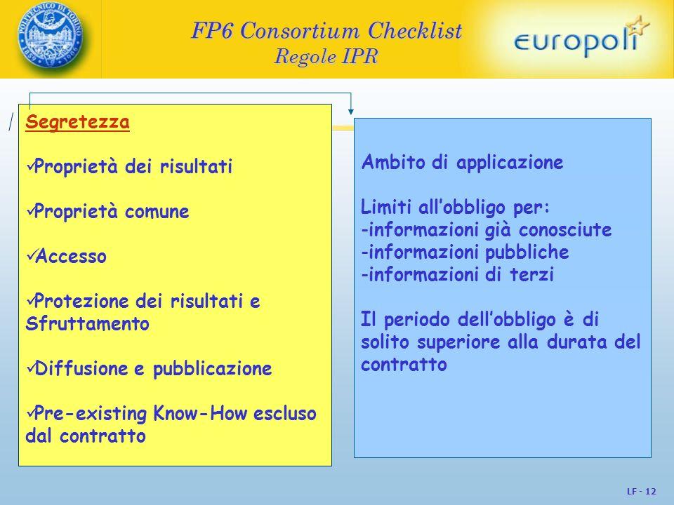 FP6 Consortium Checklist Regole IPR