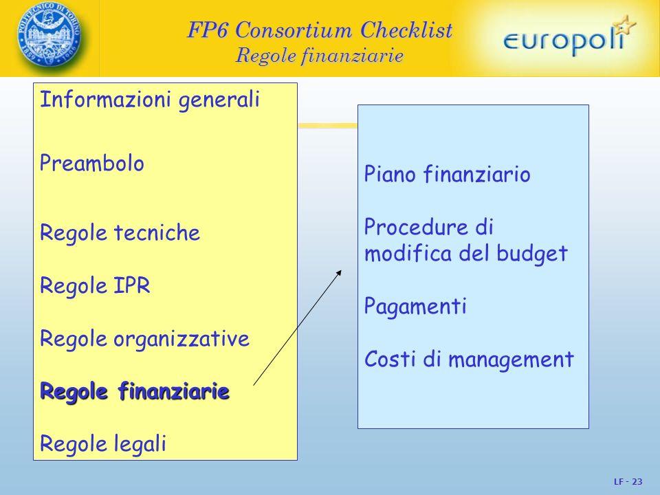 FP6 Consortium Checklist Regole finanziarie