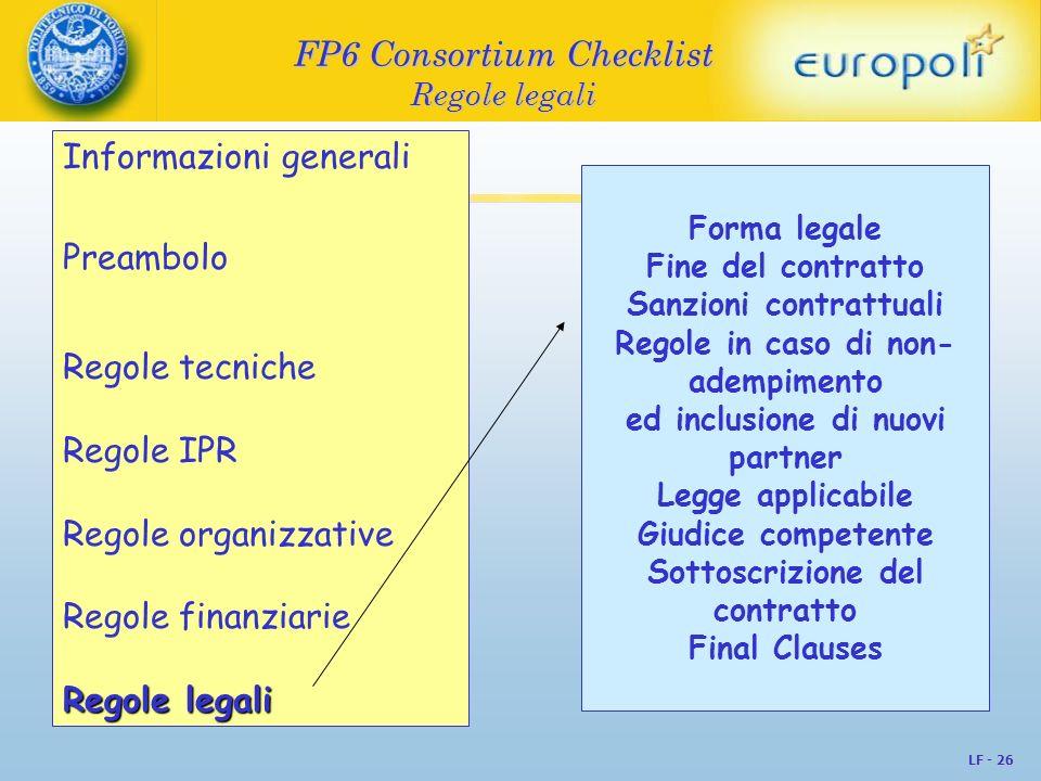 FP6 Consortium Checklist Regole legali