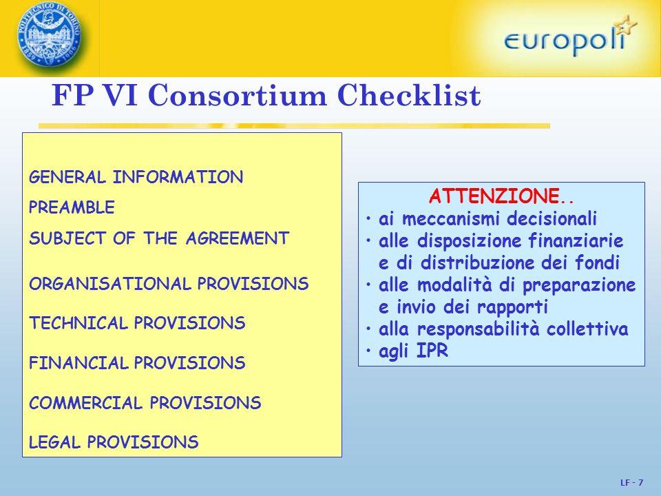 FP VI Consortium Checklist