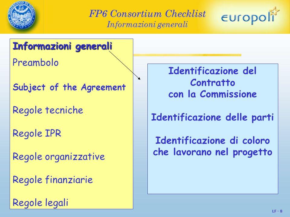FP6 Consortium Checklist Informazioni generali