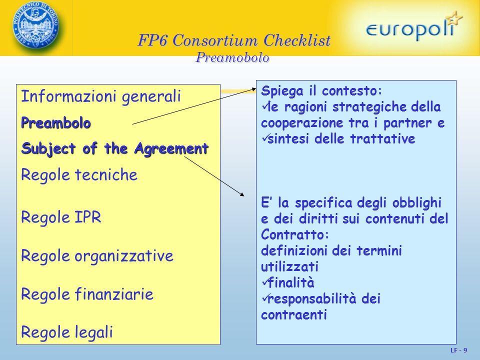 FP6 Consortium Checklist Preamobolo