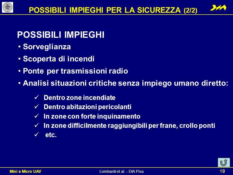 POSSIBILI IMPIEGHI PER LA SICUREZZA (2/2)