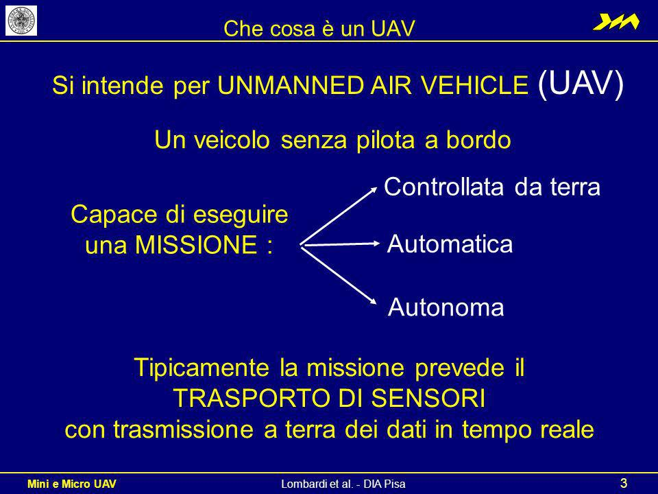 Si intende per UNMANNED AIR VEHICLE (UAV)