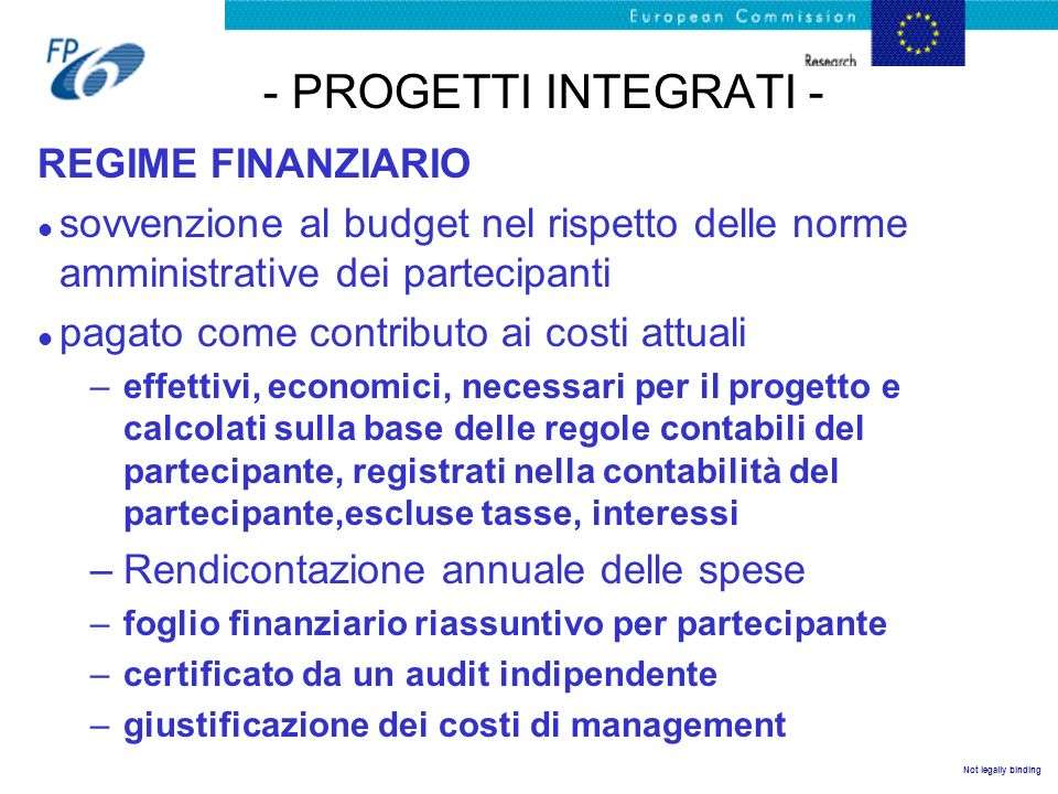 - PROGETTI INTEGRATI - REGIME FINANZIARIO