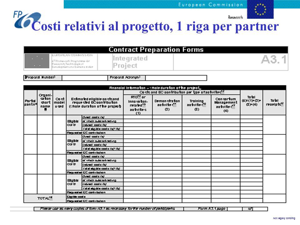 Costi relativi al progetto, 1 riga per partner