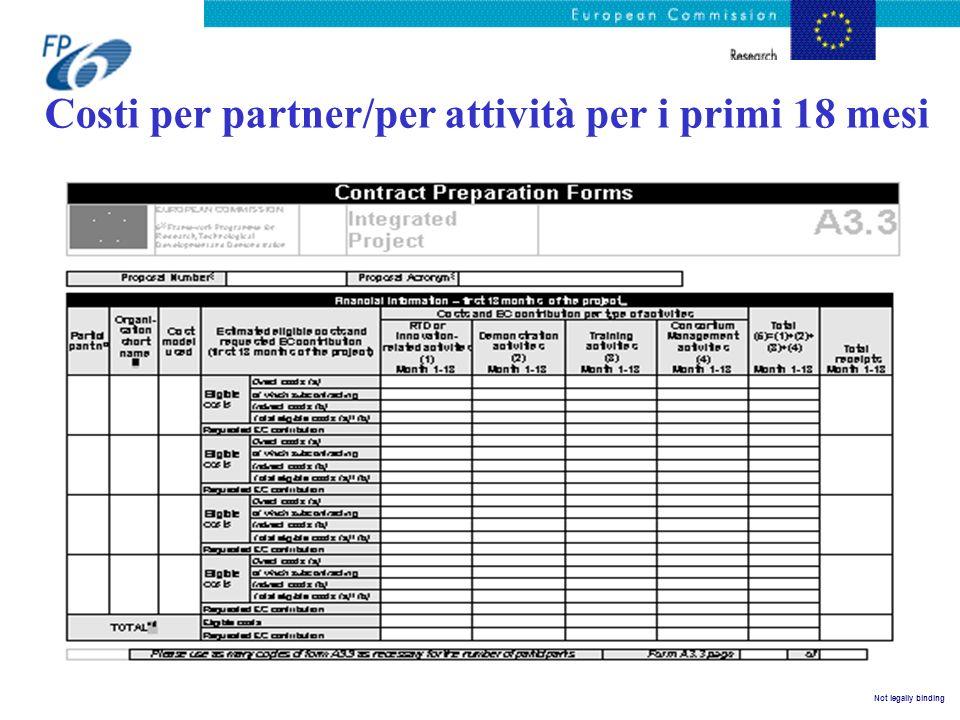 Costi per partner/per attività per i primi 18 mesi