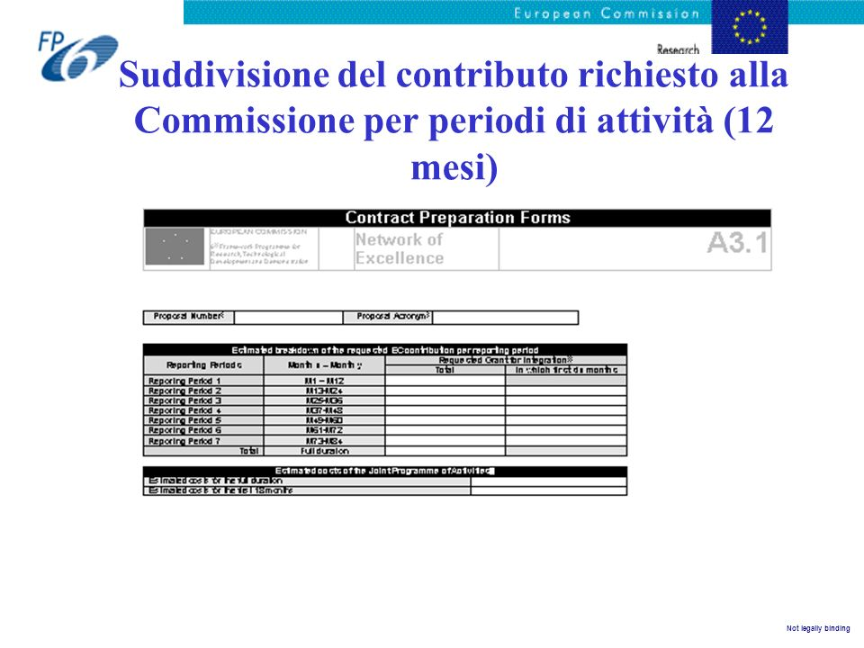 Suddivisione del contributo richiesto alla Commissione per periodi di attività (12 mesi)