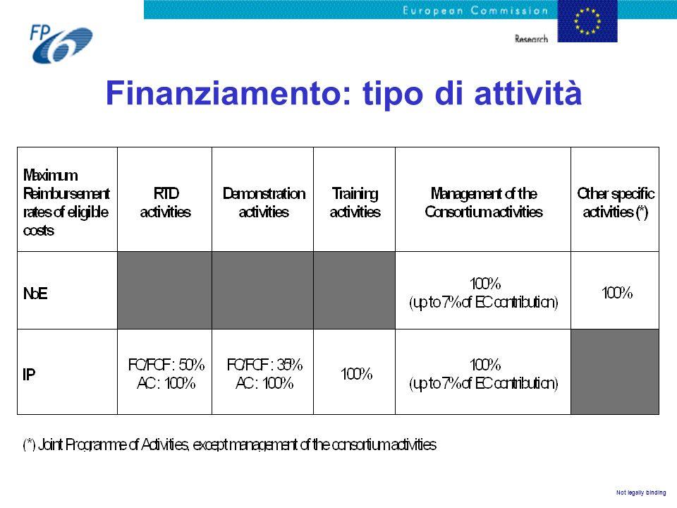 Finanziamento: tipo di attività