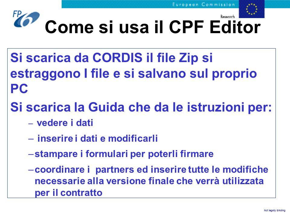 Come si usa il CPF Editor