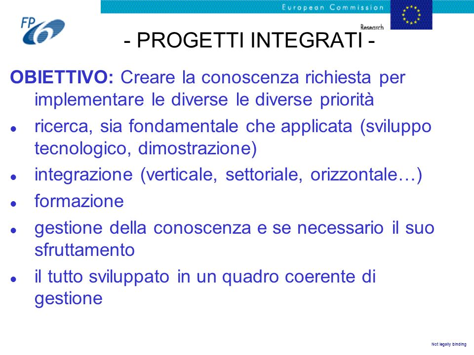 - PROGETTI INTEGRATI - OBIETTIVO: Creare la conoscenza richiesta per implementare le diverse le diverse priorità.