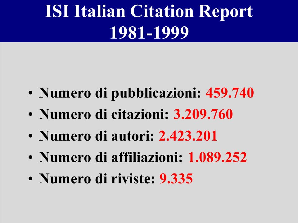 ISI Italian Citation Report 1981-1999