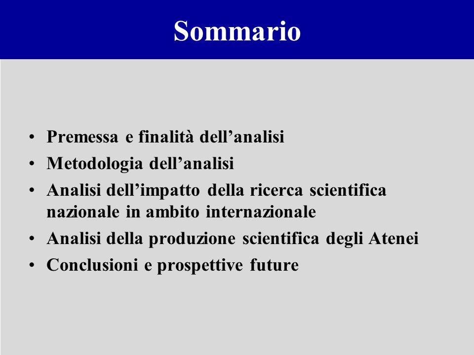 Sommario Premessa e finalità dell'analisi Metodologia dell'analisi