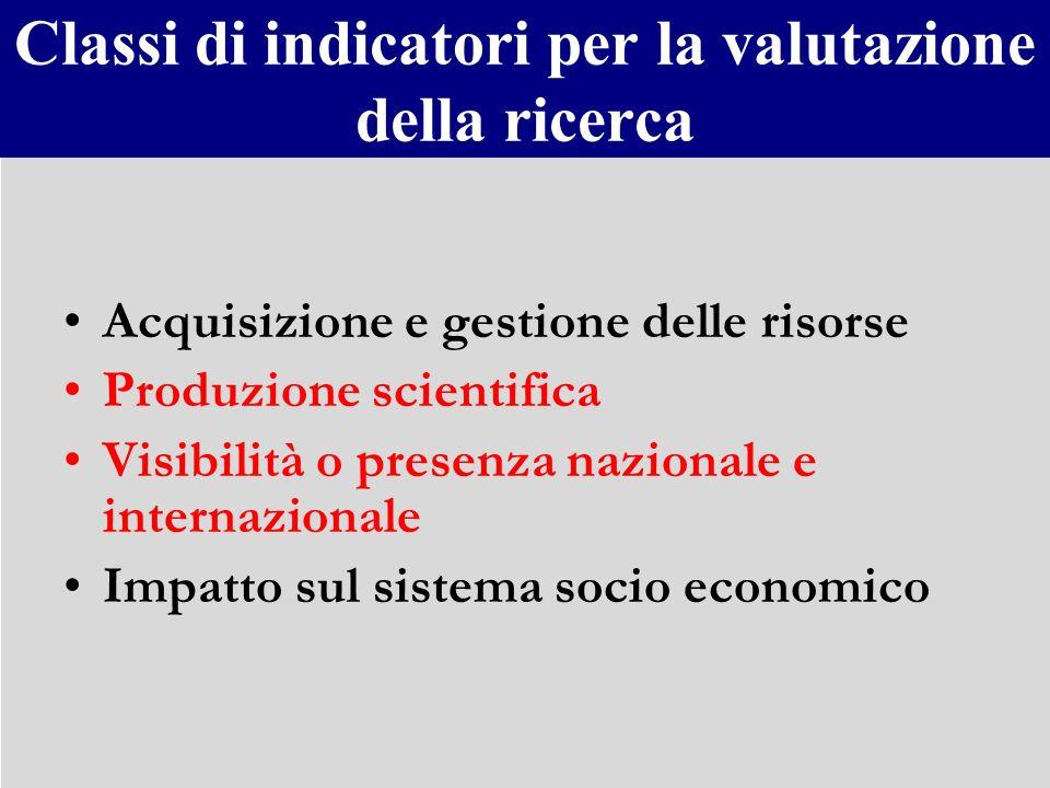 Classi di indicatori per la valutazione della ricerca