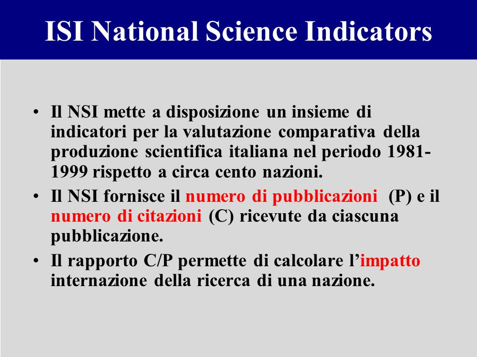 ISI National Science Indicators