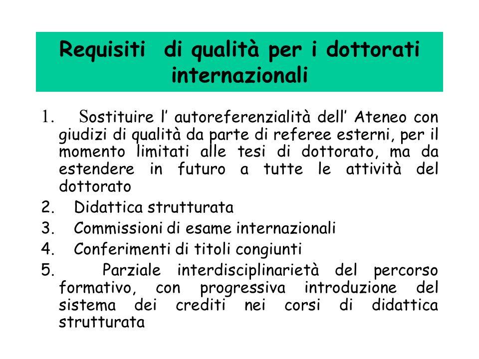 Requisiti di qualità per i dottorati internazionali