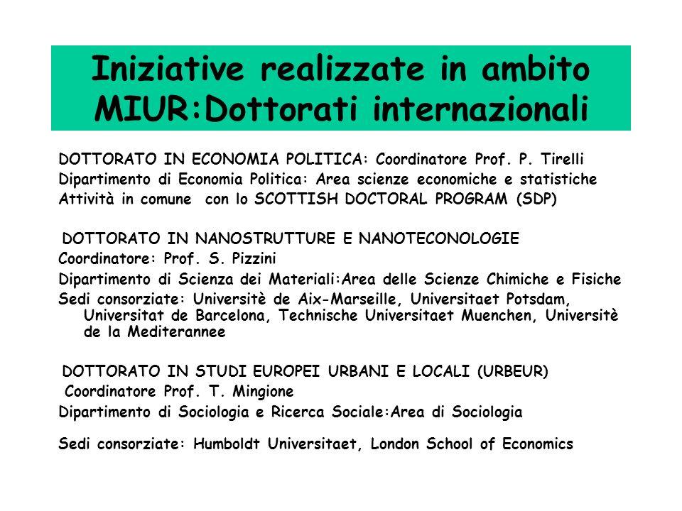 Iniziative realizzate in ambito MIUR:Dottorati internazionali