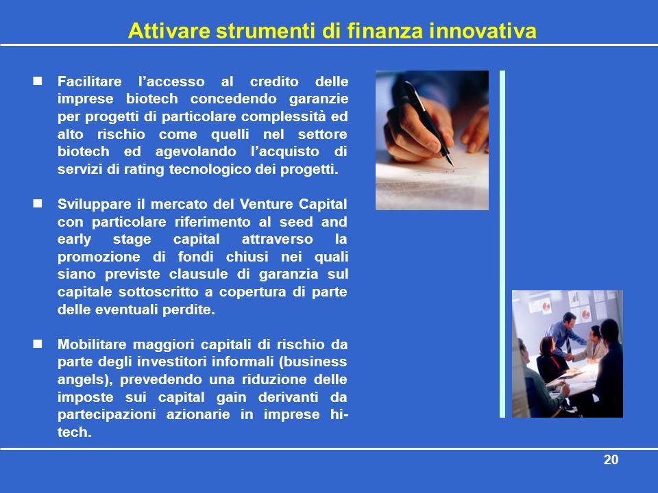 Attivare strumenti di finanza innovativa