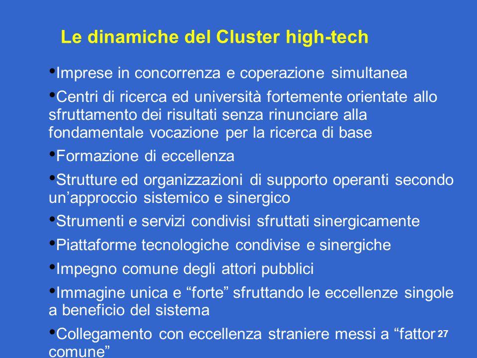 Le dinamiche del Cluster high-tech