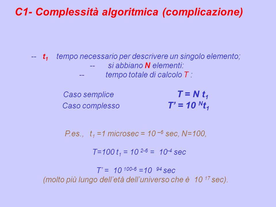 C1- Complessità algoritmica (complicazione)