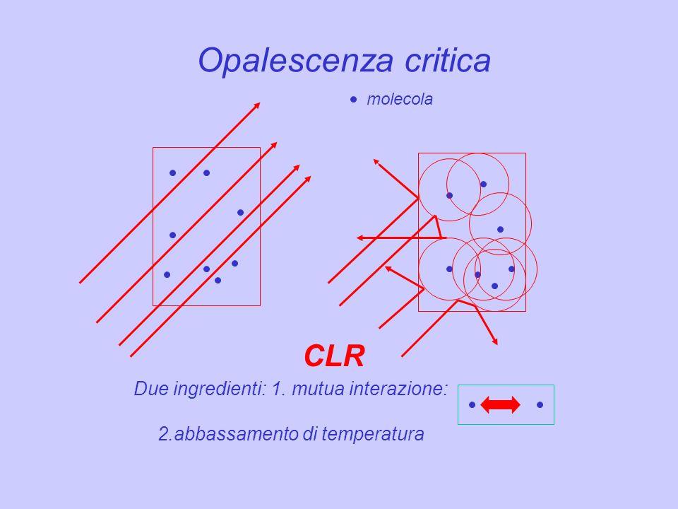 Opalescenza critica CLR Due ingredienti: 1. mutua interazione: