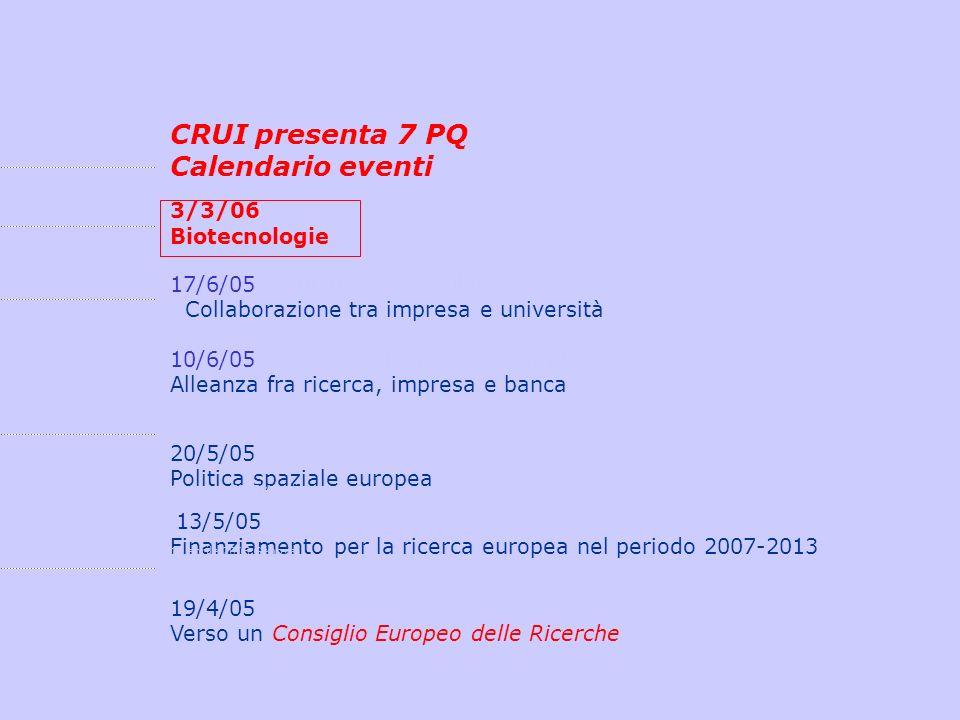 CRUI presenta 7 PQ Calendario eventi