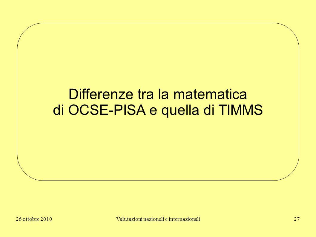 Differenze tra la matematica di OCSE-PISA e quella di TIMMS