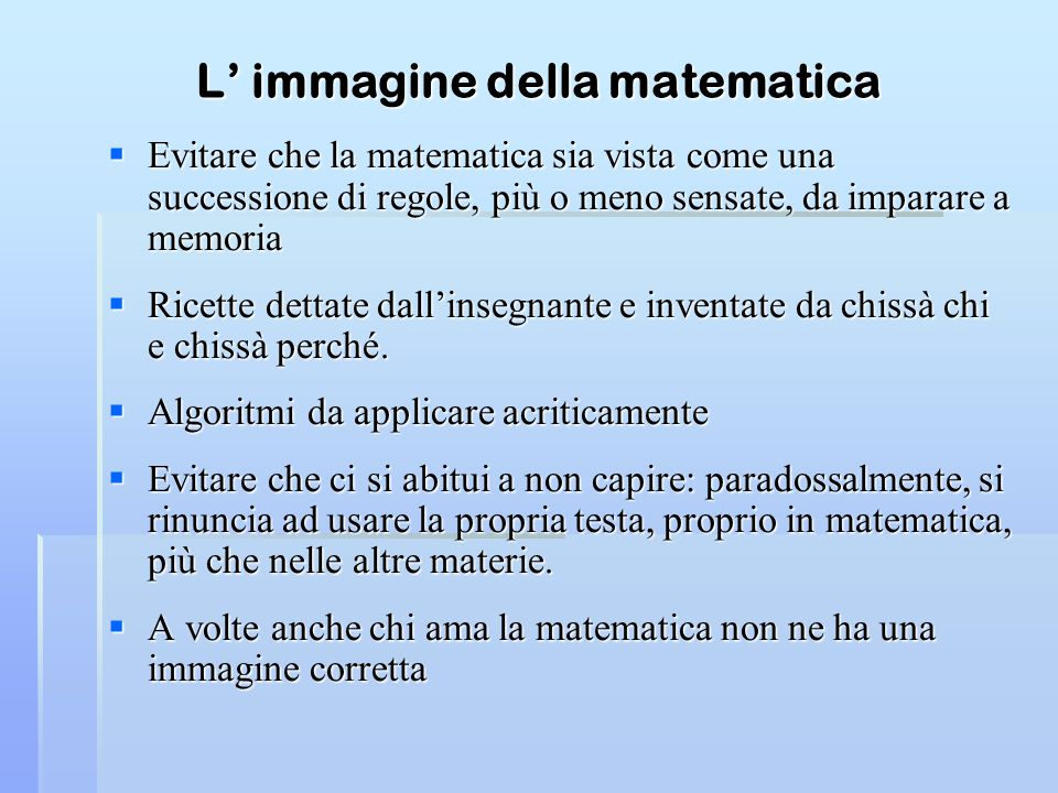 L' immagine della matematica