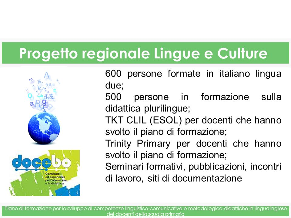 Progetto regionale Lingue e Culture